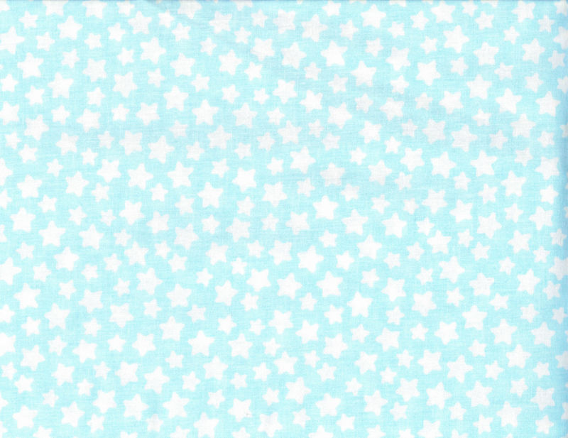Cotton Quilt Fabric Baby Blue Sky White Stars Baby Quilts Boys - product image