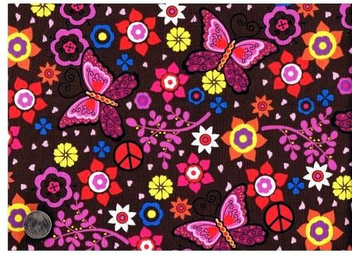Cotton Quilt Fabric Fandango Butterfly Peace Signs Brown - product image