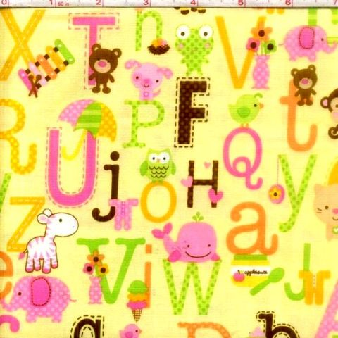 Cotton,Quilt,Fabric,Sweet,Baby,Girl,Alphabet,Animals,Yellow,Pink,quilt fabric,cotton material,auntie chris quilt,sewing,crafts,quilting,online fabric,sale fabric