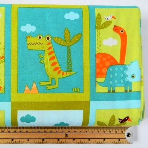 Cotton Quilt Fabric Dinosaurs Blocks Riley Blake T Rex Stego Bronto Green - product images  of