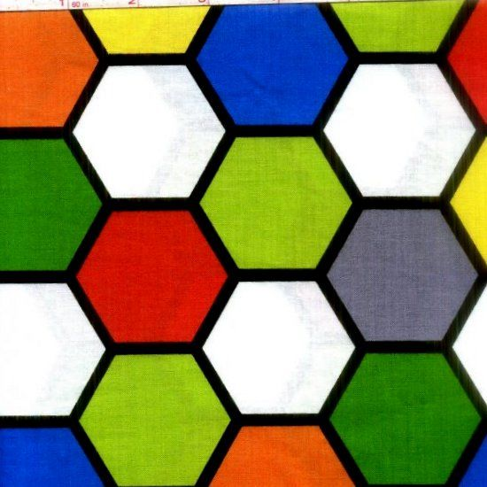 Cotton Quilt Fabric Chromatics Geek Modern Hexagons Primary  - product image