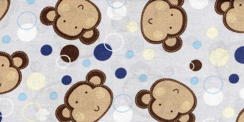Cotton Quilt Fabric Monkey Faces Dots Blue Brown Yellow Gray  - product image
