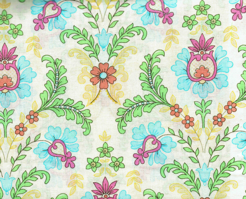 Cotton Quilt Fabric Pink Elephant Floral Pink Blue Yellow - product image