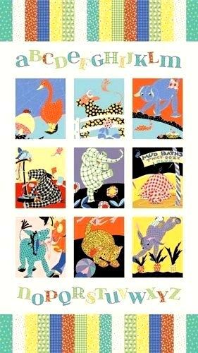 Fabric Panel Vintage Look Animal Alphabet Babies Retro Fifties - product images  of