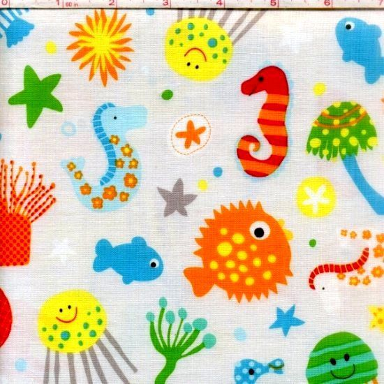 Cotton Quilt Fabric The Ocean Riley Blake Sea Creatures Fish Gray  - product image