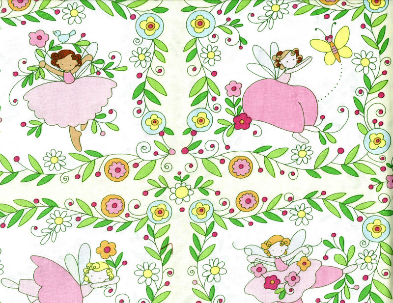 Cotton Quilt Fabric Believe Fairy Blocks Floral Girls Pink Yellow - product images  of