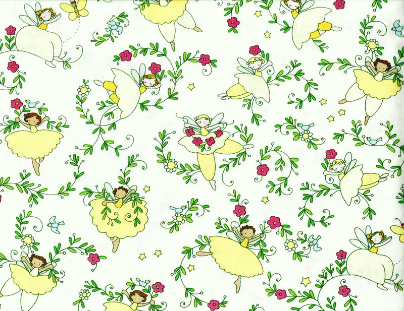 Cotton Quilt Fabric Believe Fairy Floral Girls Pink Yellow White - product image