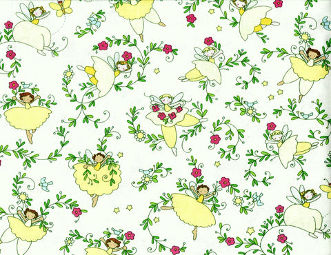 Cotton,Quilt,Fabric,Believe,Fairy,Floral,Girls,Pink,Yellow,White,,quilt backing, dresses, quilt fabric,cotton material,auntie chris quilt,sewing,crafts,quilting,online fabric,sale fabric