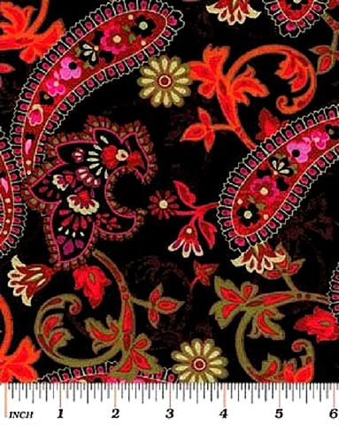 Cotton,Quilt,Fabric,Bohemian,Rhapsody,Large,Paisley,Floral,Black,Red,,quilt backing, dresses, quilt fabric,cotton material,auntie chris quilt,sewing,crafts,quilting,online fabric,sale fabric
