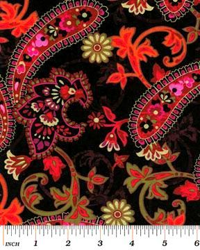 Cotton Quilt Fabric Bohemian Rhapsody Large Paisley Floral Black Red - product images  of