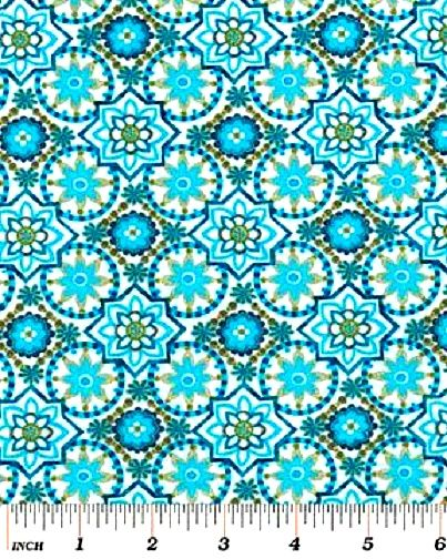 Cotton Quilt Fabric Bohemian Rhapsody Small Medallion Floral Blue Green - product images  of