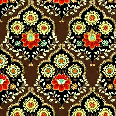 Cotton Quilt Fabric Caravan Large Medallion Bohemian Brown - product images  of