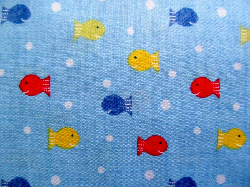 Cotton Quilt Fabric Ships Ahoy Fishy Fishy Polka Dots Baby Blue - product images  of