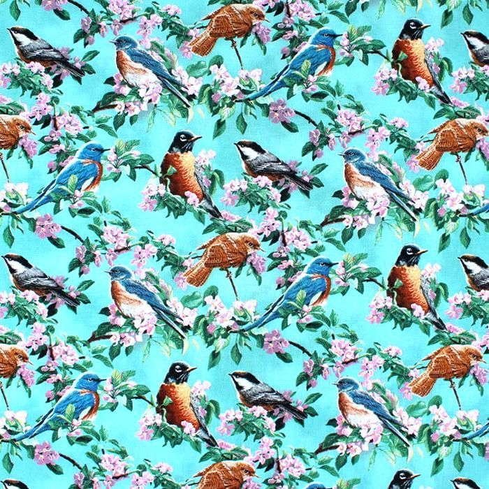 Cotton Quilt Fabric Wild Wings Cherry Blossoms Pink Birds Teal Blue - product images  of