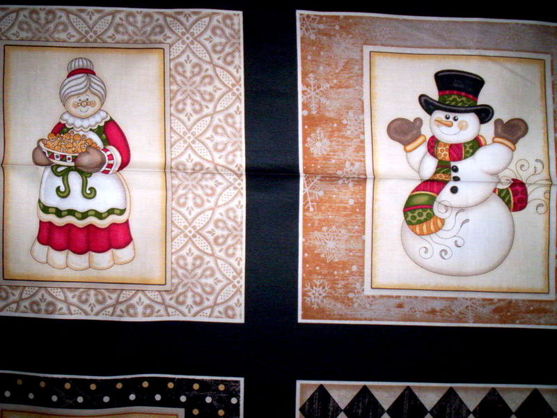 Cotton Quilt Fabric Holly Jolly Santa Snowman 24-inch Panel Dan Morris - product images  of