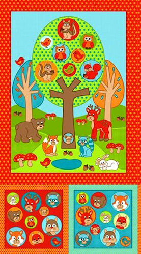 Cotton Quilt Fabric Woodland Park Forest Animals Baby Quilts Brights - product images  of