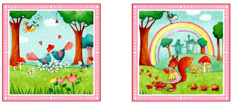 "Cotton Quilt Fabric Rainbow Woodland 24"" Baby Quilt Panel Birds Floral - product images  of"