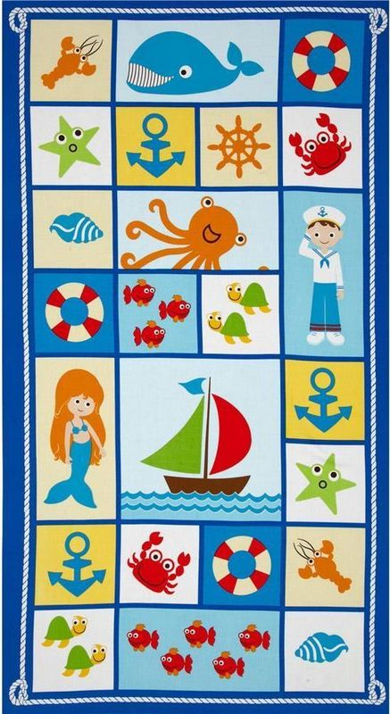 "Cotton Quilt Fabric Nautical Seaside Holiday 24"" Quilt Panel Ocean Sailing - product images  of"
