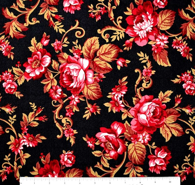 Cotton Quilt Fabric CLASSIC ELEGANCE LARGE TOSS FLORAL BLACK - product images  of