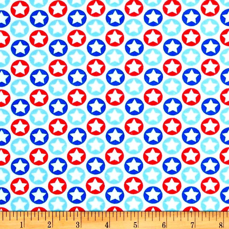 Cotton Flannel Quilt Fabric Patriotic Alpine Flannel Stars Red White Blue - product image
