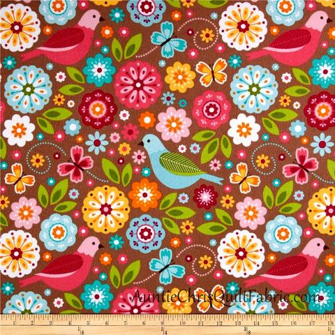 Cotton,Flannel,Quilt,Fabric,Summer,Song,2,Floral,Birds,Brown,Multi,,quilt backing, dresses, quilt fabric,cotton material,auntie chris quilt,sewing,crafts,quilting,online fabric,sale fabric