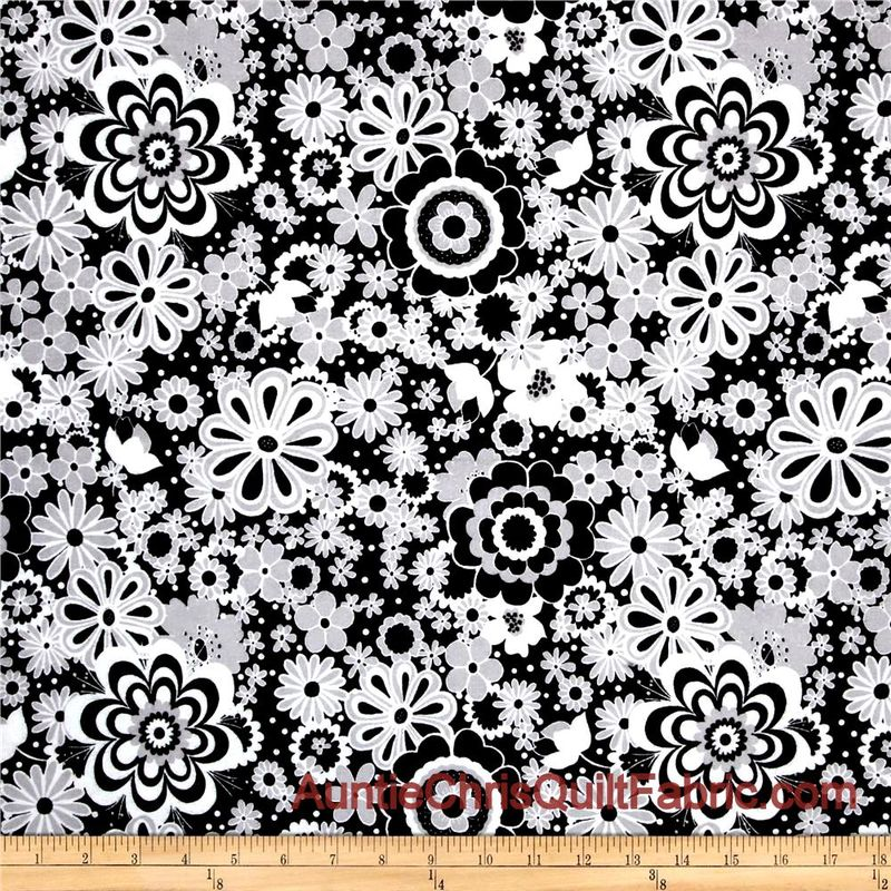 Cotton Flannel Quilt Fabric Parisian Black White Gray Floral Main - product images  of