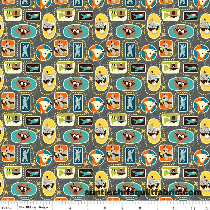 Cotton Quilt Fabric Little Flyers Patches Gray C4572 Fox Squirrle Planes - product image
