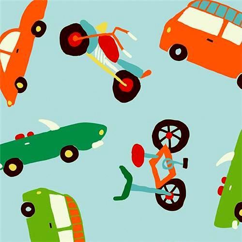 Cotton Quilt Fabric Wheels 2 Car Bus Airplanes Transportation Aqua Blue - product images  of