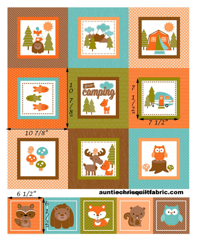 Cotton Quilt Fabric Panel Happy Camper Vintage Camper Tent Animals Brown - product images  of