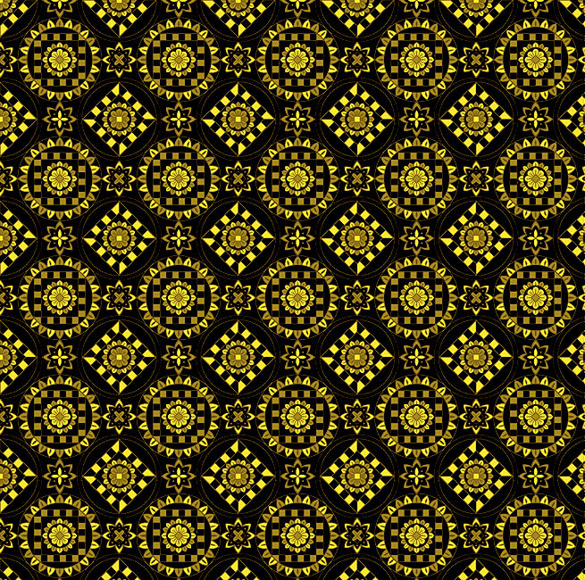 Cotton Quilt Fabric Kaleidoscope Medallions Olive Bohemian Print Floral - product image