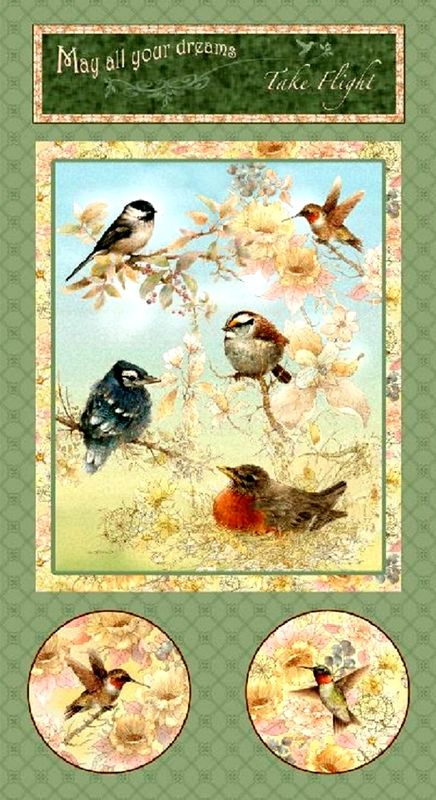 Cotton Quilt Fabric Panel Garden Melodies Birds Flowers SPX - product images  of