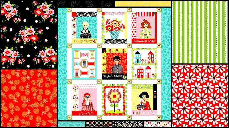 Fab Friend'zy Panel Plus Fat Quarters Modern Medley By Henry Glass - product images  of