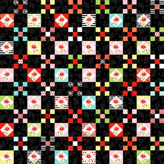 Cotton Quilt Fabric Fab Friend'zy Floral Nine Patch Black Henry Glass - product image