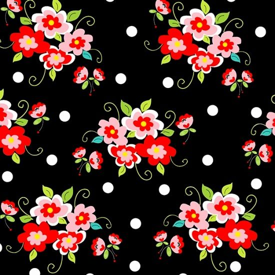 Cotton Quilt Fabric Fab Friend'zy Rose Floral Black Multi Henry Glass - product image