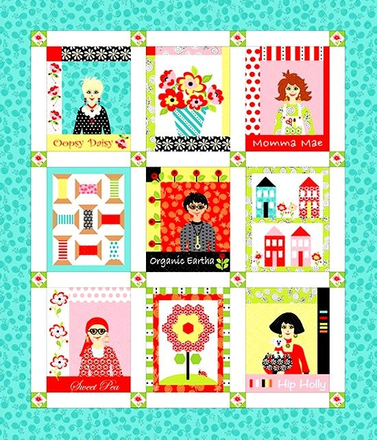 Cotton Quilt Fabric Panel Fab Friend'zy Mod Quilty Friends Henry Glass - product image