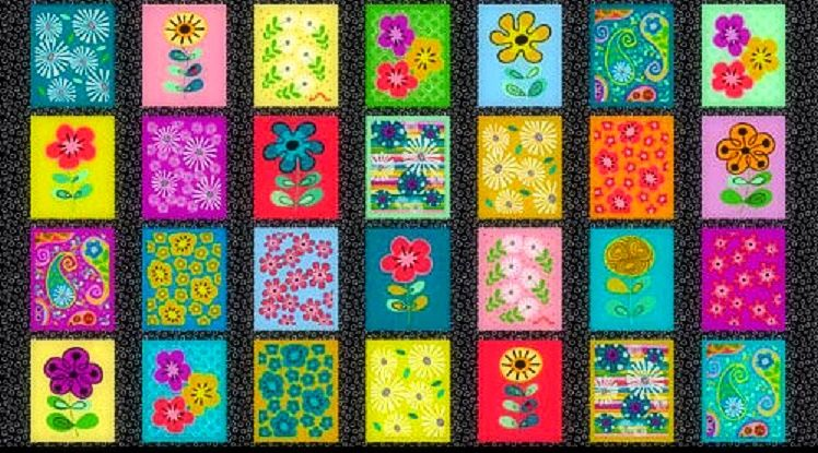 Cotton Quilt Fabric Panel Cutting Garden Bright Floral Paisley Blocks - product images  of