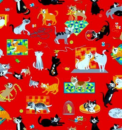 Cotton,Quilt,Fabric,A,Cat,Tale,Whimsical,Kitty,Cats,Red,Multi,,quilt backing, dresses, quilt fabric,cotton material,auntie chris quilt,sewing,crafts,quilting,online fabric,sale fabric
