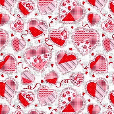 Cotton Quilt Fabric Hugs And Kisses Valentines Hearts Flowers Multi - product image