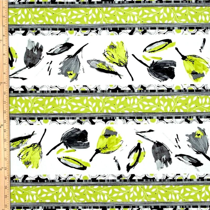 Cotton Quilt Fabric Cosmopolitan Tulip Stripe Lime Green Black Flowers - product images  of