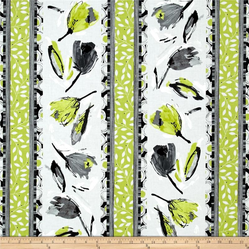 Good Buy Cotton Quilt Fabric Cosmopolitan Tulip Stripe Lime Green Black Flowers - product images  of