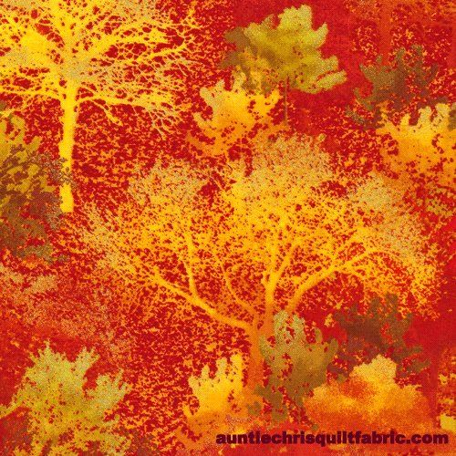 Cotton Quilt Fabric Autumn In The Forest Trees Leaves Gold Metallic - product images  of