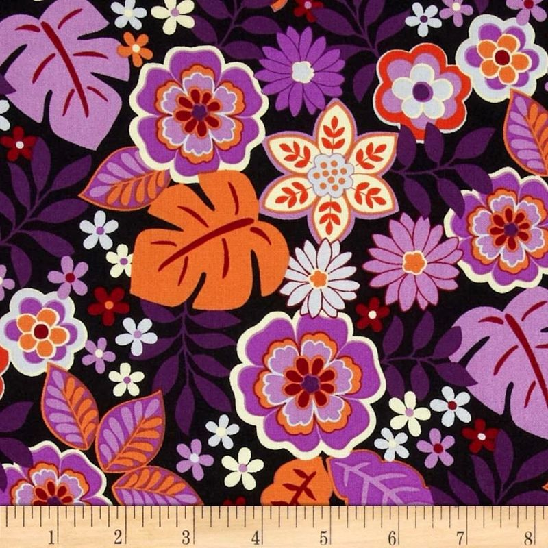 Cotton Quilt Fabric Cassandra Master Floral Orchid Flower Fabri-Quilt - product image