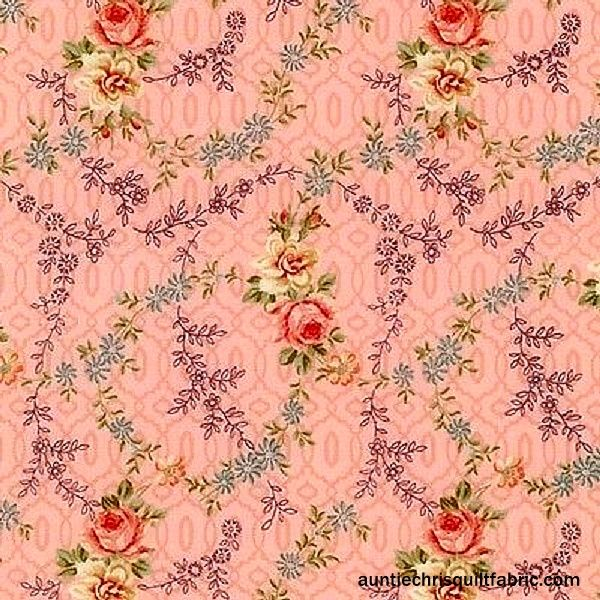 Cotton Quilt Fabric BELLA By RO GREGG Romantic Rose Floral - product images  of