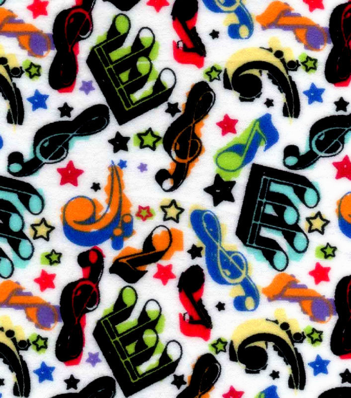 Good Buy Cotton Flannel Quilt Fabric Colorful Music Notes Stars White Multi - product image