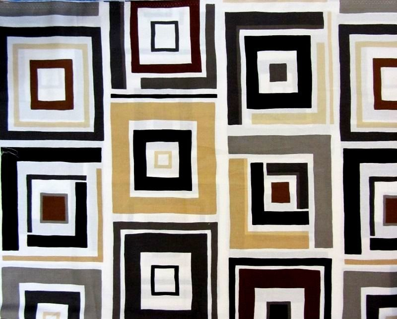 Modern Block Print Benartex Dwellings Box Trot Ivory/Gray 1 Panel  - product images  of