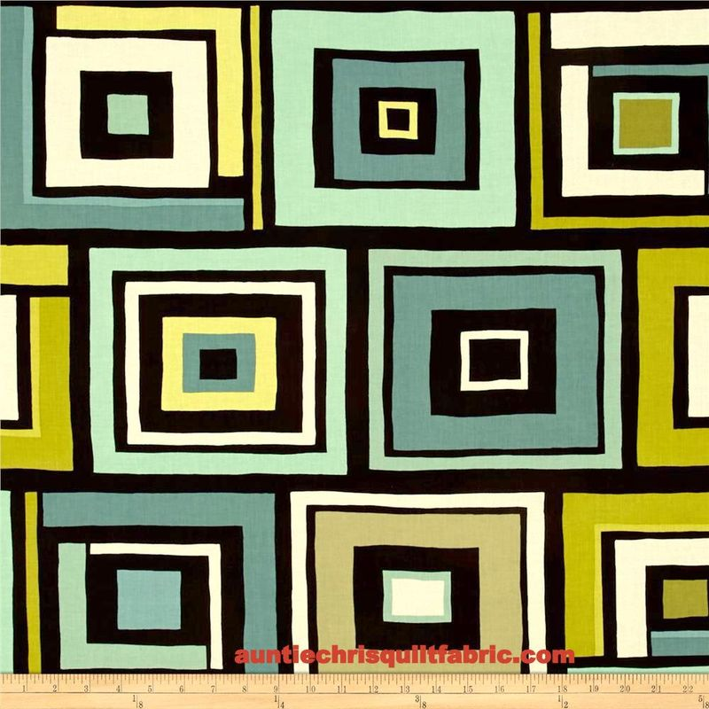Modern Block Print Benartex Dwellings Box Trot Brown/Aqua 1 Panel  - product images  of