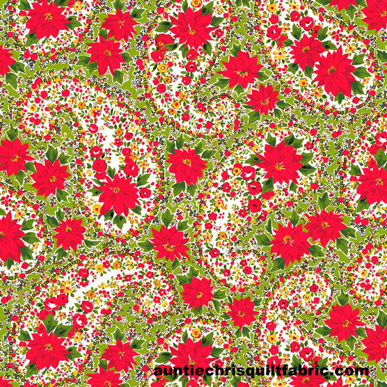 Cotton Quilt Fabric Christmas Poinsettia Large Paisley Green Andover Fabrics  - product image