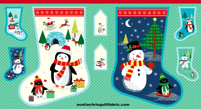 Cotton Quilt Fabric Christmas Frosty Christmas Stocking Fabric Panel - product images  of