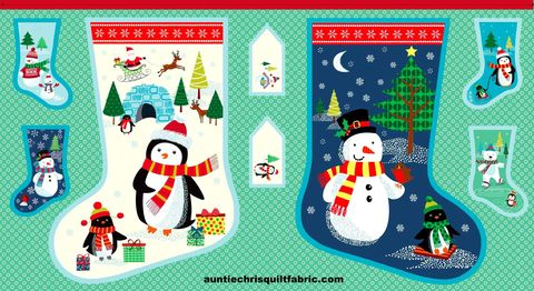 Cotton,Quilt,Fabric,Christmas,Frosty,Stocking,Panel,,quilt backing, dresses, quilt fabric,cotton material,auntie chris quilt,sewing,crafts,quilting,online fabric,sale fabric