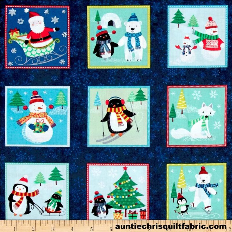Cotton Quilt Fabric Christmas Frosty Christmas Mini Quilt Block - product images  of